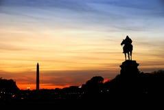 Washington DC silhouette. Statue of General Grant silhouette of US grant memorial and Washington Monument at sunset, Washington DC Stock Photo