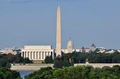 Washington DC Skyline. Including Lincoln Memorial, Washington Memorial and US Capitol building as seen from Arlington,Virginia Royalty Free Stock Photos