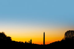 Washington DC skyline at dusk. Royalty Free Stock Image