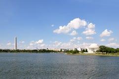 Washington DC Skyline. Skyline of Washington, DC including Jefferson Memorial and Washington Monument seen across Tidal Basin in USA Stock Photos