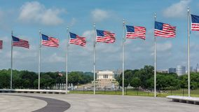 Washington DC Skyline. Including Lincoln Memorial and American flags stock photography