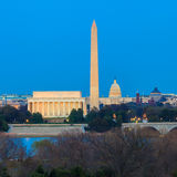 Washington DC skyline including Lincoln Memorial, Washington Mon Stock Images