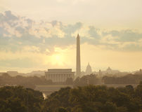 Washington DC skyline with sun and clouds in the morning Royalty Free Stock Images