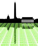 Washington DC Skyline with text Stock Photo