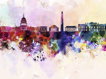 Washington DC skyline in watercolor background Stock Photos