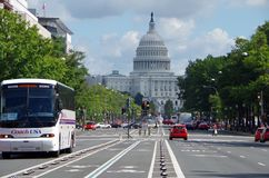 Washington DC Stany Zjednoczone, Wrzesień, - 27, 2017: Stany Zjednoczone Pennsylwania i Capitol aleja obrazy stock