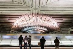 Washington DC Subway Station Motion Blur Platform Waiting Ceiling Transportation stock image
