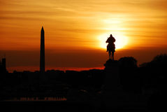 Washington DC sunset. Statue of General Grant of US grant memorial and Washington Monument at sunset, Washington DC Stock Photos