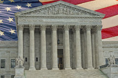 Washington DC Supreme Court facade on american flag backgound Royalty Free Stock Photo