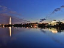 Washington DC tidal basin with Washington Mounument Stock Photos