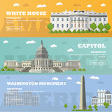 Washington DC tourist landmark banners. Vector illustration. Capitol, White House. Royalty Free Stock Photos