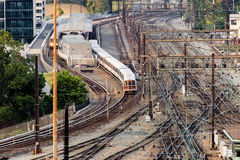 Washington, DC -Trains and overhead cables at Union Station royalty free stock photo