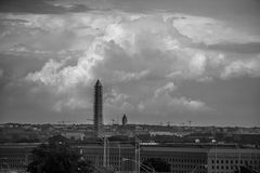 Washington DC under Repair or Growth spurt?. A view of Washington DC under repair after the earthquake and the skyline is covered with cranes royalty free stock image