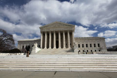Washington DC United States Supreme Court Building. The public facade of the US Supreme Court in Washington DC is made of marble and the building, designed as a Stock Photo