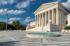 Washington DC, United States Supreme Court Building. And fountain at sunny day royalty free stock photography