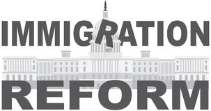 Washington DC Capitol Immigration Reform vector Royalty Free Stock Images