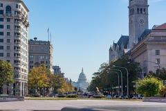 Washington DC US-Kapitol-Gebäude-Tageslicht-Pennsylvania-Allee Nove Stockfotos