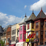 WASHINGTON DC, USA – MAY 9, 2015: Buildings with popular restaurants in Adams Morgan neighborhood on May 9, 2015 in Washington D Royalty Free Stock Photography