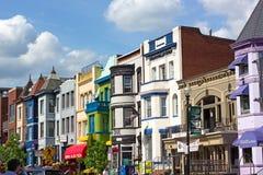 WASHINGTON DC, USA – MAY 9, 2015: Colorful historic buildings in Adams Morgan neighborhood on May 9, 2015 in Washington DC. Royalty Free Stock Image