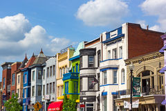 WASHINGTON DC, USA – MAY 9, 2015: Row houses in Adams Morgan neighborhood on May 9, 2015 in Washington DC. Royalty Free Stock Images