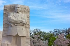Martin Luther King Jr Memorial in Wishington DC, USA. WASHINGTON DC, USA - APRIL 13, 2015: Martin Luther King Jr Memorial during cherry blossom festival in royalty free stock image