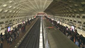 WASHINGTON, DC, USA -April, 3, 2017: a train at gallery place metro station in washington dc