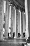 Washington DC, USA. Columns of Thomas Jefferson Memorial, close-up in black and white. Washington DC, USA. Columns of Thomas Jefferson Memorial, close-up in Royalty Free Stock Photos
