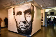 Washington DC, USA. Entry hall to Abraham Lincoln with giant poster of President Lincoln. Stock Image