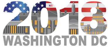 2018 Washington DC USA Flag Outline vector Illustration. 2017 USA American Flag Numbers Outline Washington DC Isolated on White Background vector Illustration Stock Illustration