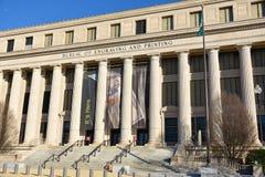 Washington DC, USA Gatasikt och byggnad av den Washington staden Arkivfoto
