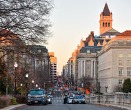 Washington DC, USA Gatasikt och byggnad av den Washington staden Arkivbilder