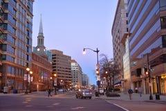 Washington DC, USA Gatasikt och byggnad av den Washington staden Arkivfoton