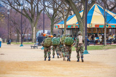 WASHINGTON DC, USA - JANUARY 31, 2006: American soldiers walking. WASHINGTON DC, USA - JANUARY 31, 2006: Group of American soldiers walking in The National Mall Stock Image