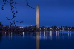 Washington Monument in twilight royalty free stock image