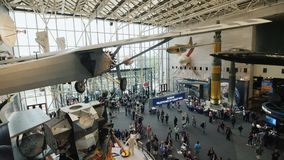 Washington DC, USA, October 2017: Aircraft and other large-scale exhibits in National Air and Space Museum. Low angle