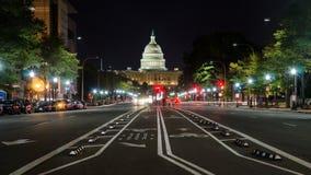 WASHINGTON DC, USA - OCTOBER 24, 2016: US Capitol street view. WASHINGTON DC, USA - OCTOBER 24, 2016: United States Capitol Washington street view at night royalty free stock photos
