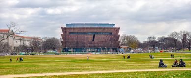 Washington DC, USA. Panoramic area of Smithsonian National Museum of African American History and Culture NMAAHC. Royalty Free Stock Image