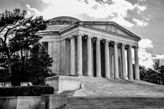 Washington DC, USA. Panoramic view of Thomas Jefferson Memorial, close-up in black and white. Washington DC, USA. Panoramic view of Thomas Jefferson Memorial Royalty Free Stock Images