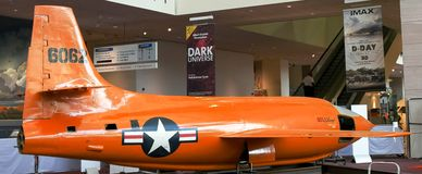 WASHINGTON, DC, USA - SEPTEMBER 10, 2015: The bell X-1 was the first manned airplane to exceed the speed of sound stock photos
