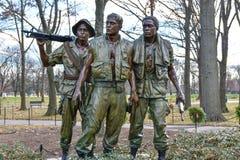 Washington DC, USA. Vietnam Veterans Memorial. Washington DC, USA. Vietnam Veterans Memorial, this is a bronze statue in the entrance at Memorial Stock Photos