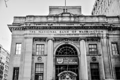 Washington DC, USA. View of The National Bank of Washington in black and white. Washington DC, USA. View of The National Bank of Washington in black and white Royalty Free Stock Photo