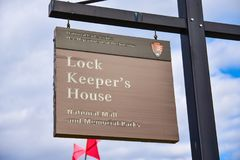 Washington DC, USA. View sign of Lock Keeper`s House in the National Mall. Washington DC, USA. View sign of Lock Keeper`s House in the National Mall Royalty Free Stock Images