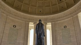 Washington DC, USA. View of Thomas Jefferson Memorial. Washington DC, USA. View of Thomas Jefferson Memorial, close-up of the statue Royalty Free Stock Photo