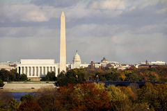 Washington DC. View of Washington DC with Capitol, Washington Monument and Lincoln Memorial in line Royalty Free Stock Photography