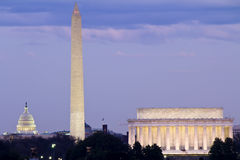 Washington DC. View of Washington DC with Capitol, Washington Monument and Lincoln Memorial in line Royalty Free Stock Photo