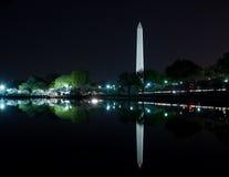 Washington, DC - Washington Monument, das im Gezeiten- Becken sich reflektiert Lizenzfreie Stockbilder