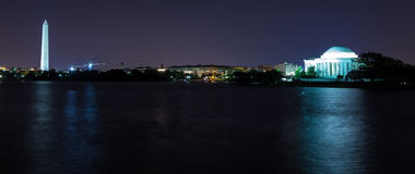 Washington, DC - Washington Monument and Jefferson. This is a night time image of the Washington Monument and Jefferson Memorial reflecting on the Tidal Basin Stock Photo
