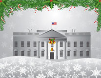 Washington DC White House Christmas Scene Illustra Stock Photography