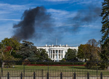 Washington DC White House Monument Black Smoke House Fire Blue S Royalty Free Stock Photo
