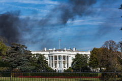 Washington DC White House Monument Black Smoke House Fire Blue S Royalty Free Stock Images